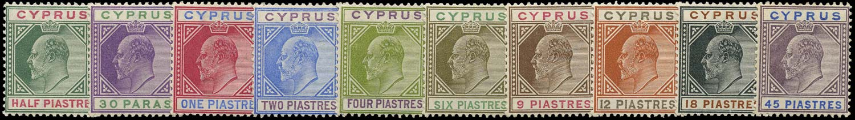 CYPRUS 1902  SG50/59 Mint watermark CA set of 10