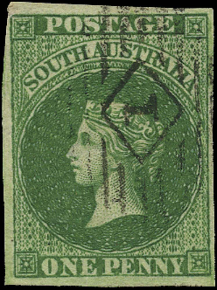 SOUTH AUSTRALIA 1855  SG1 Used 1d dark green London printing