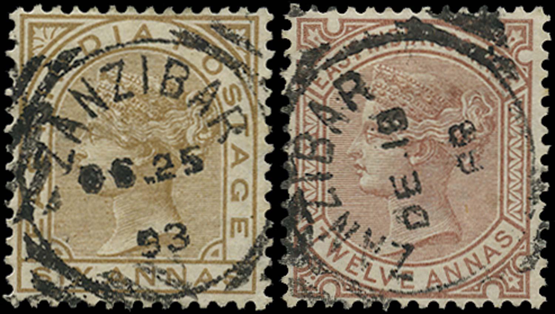 ZANZIBAR 1876  SGZ60/1 Cancel