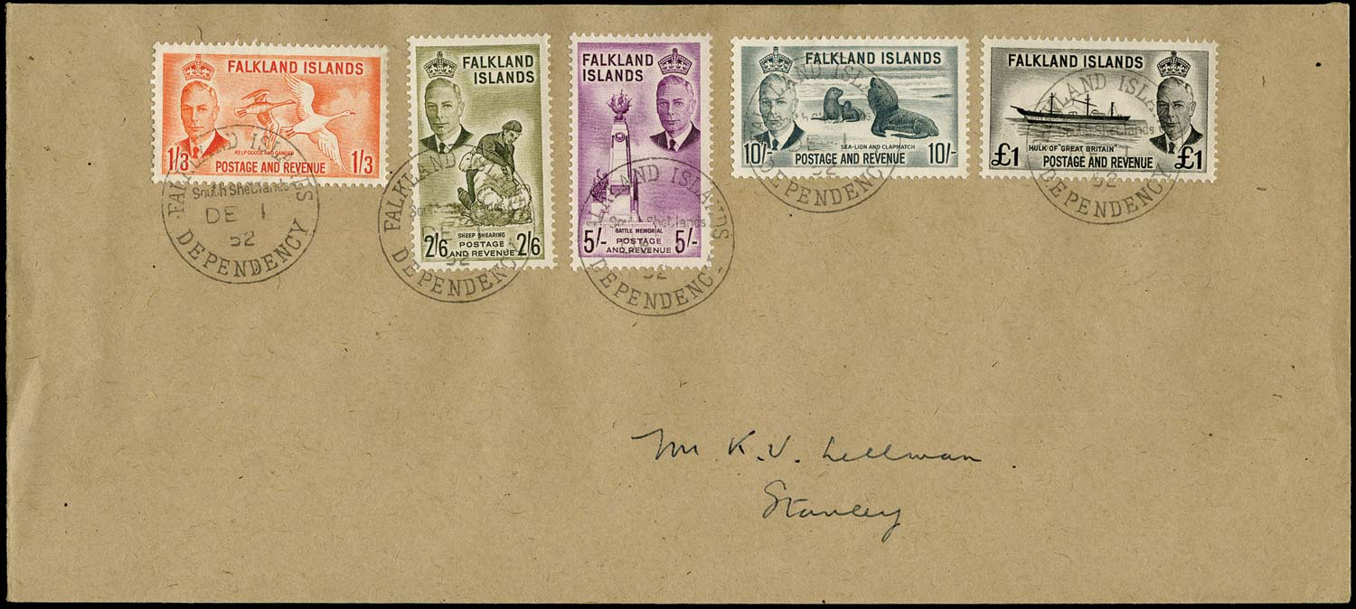FALKLAND ISLAND DEPS 1952  SGZ163/67 Cover KGVI 1s3d to £1 used South Shetlands