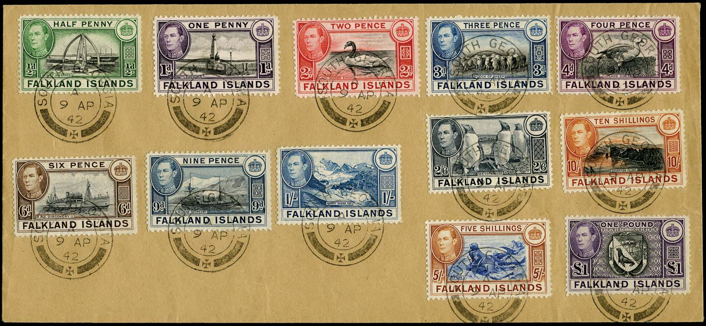 FALKLAND ISLAND DEPS 1938  SGZ73/88 btwn Cover KGVI set to £1 used South Georgia