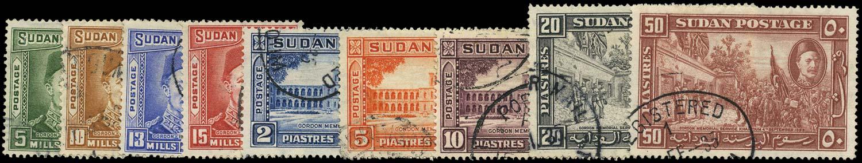 SUDAN 1935  SG59/67 Used General Gordon set of 9 to 50pi