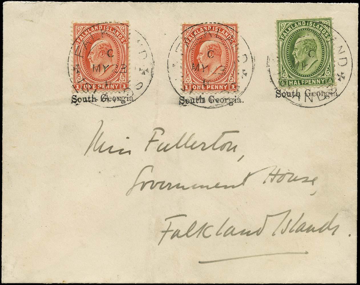 FALKLAND ISLAND DEPS 1910  SGZU2 Cover South Georgia underprint + type F4D cds