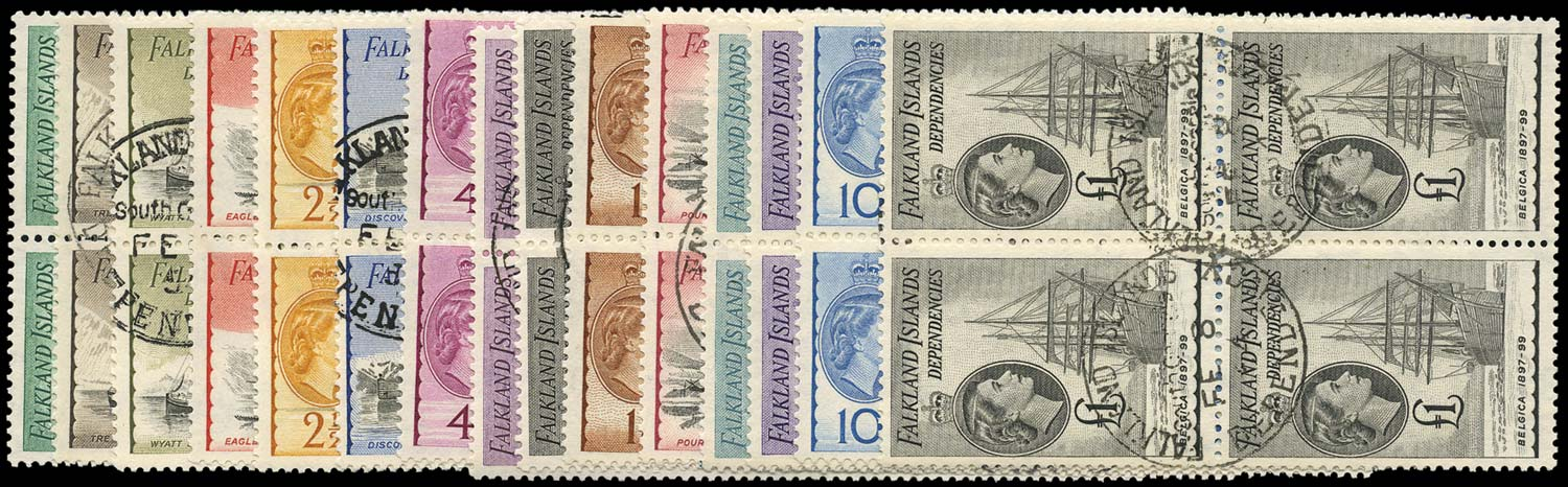 FALKLAND ISLAND DEPS 1954  SGG26/40 Used Ships set of 15 to £1
