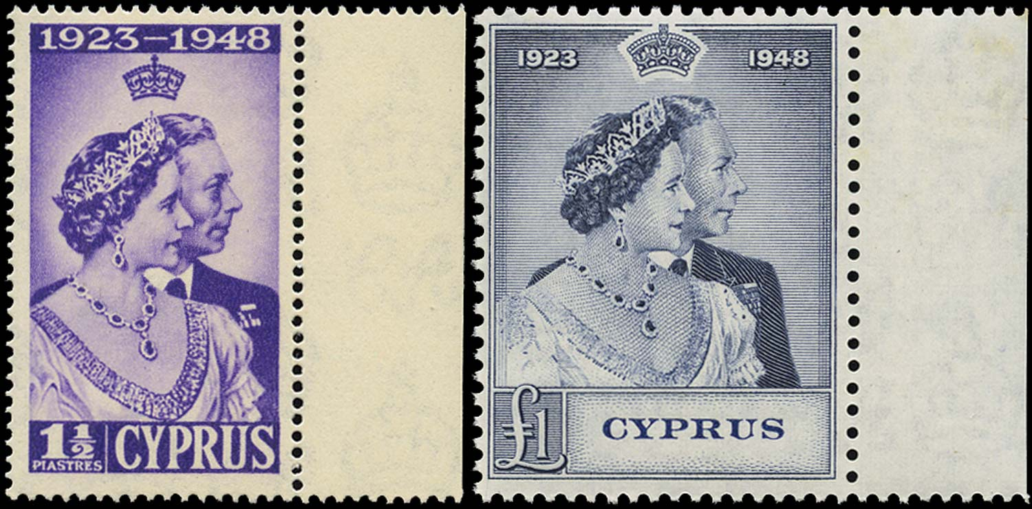 CYPRUS 1948  SG166/67 Mint Royal Silver Wedding 1½pi and £1 unmounted
