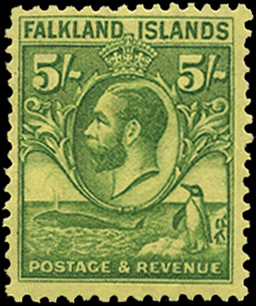 FALKLAND ISLANDS 1929  SG124 Mint Whale and Penguin 5s green on yellow