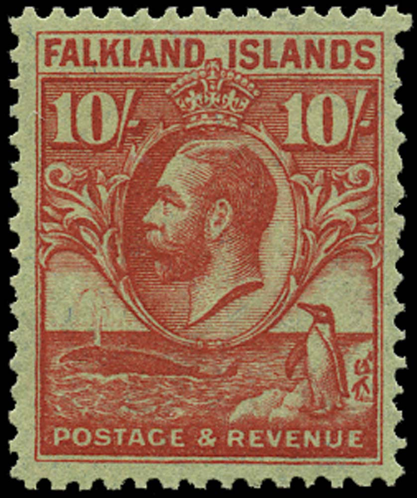 FALKLAND ISLANDS 1929  SG125 Mint Whale and Penguin 10s carmine on emerald