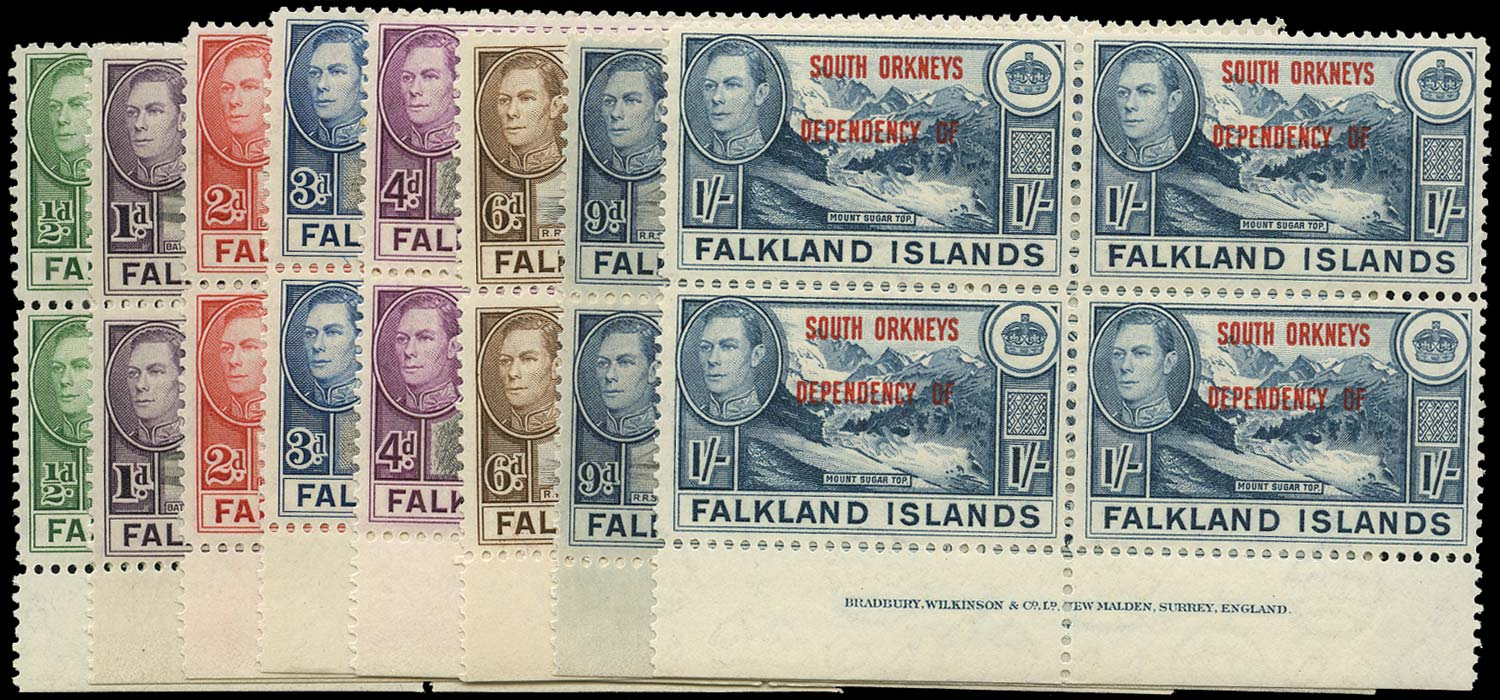 FALKLAND ISLAND DEPS 1944  SGC1/8 Mint South Orkneys set of 8 imprint blocks