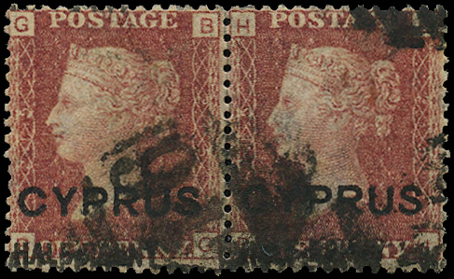 CYPRUS 1881  SG9ab Used ½d on 1d red type 5 surcharge double