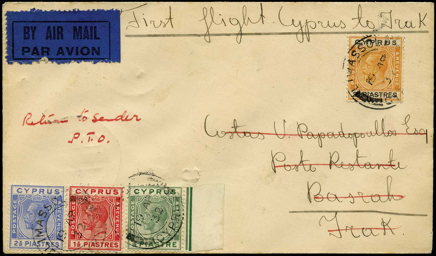 CYPRUS 1932  SG118, 120/22 Cover First Flight by Imperial Airways to Iraq
