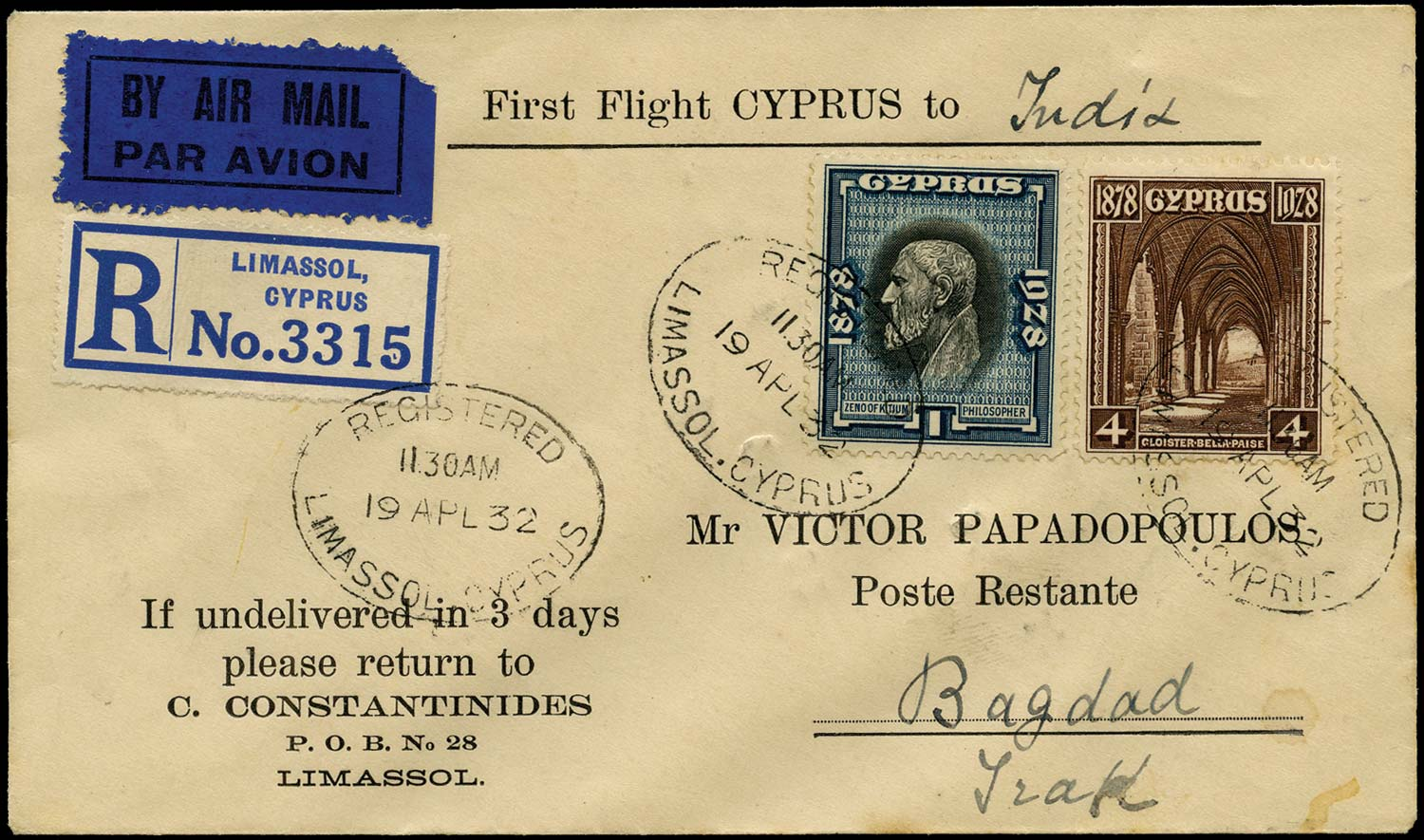 CYPRUS 1932  SG124, 127 Cover First Flight by Imperial Airways to Iraq