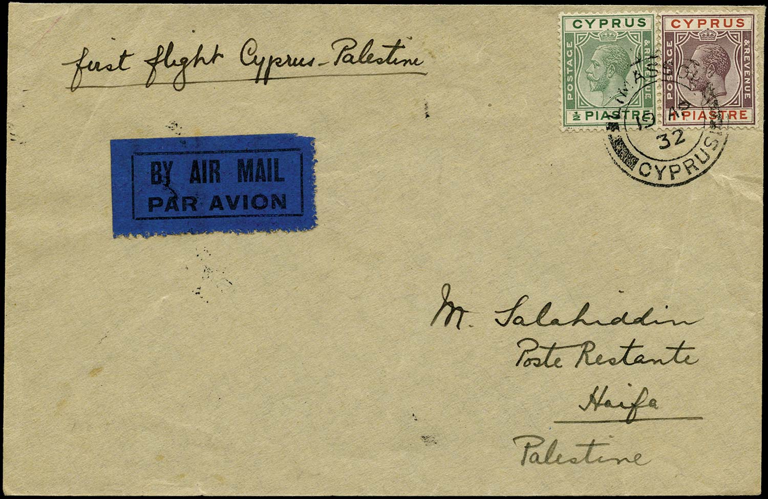 CYPRUS 1932  SG106, 118 Cover First Flight by Imperial Airways to Palestine