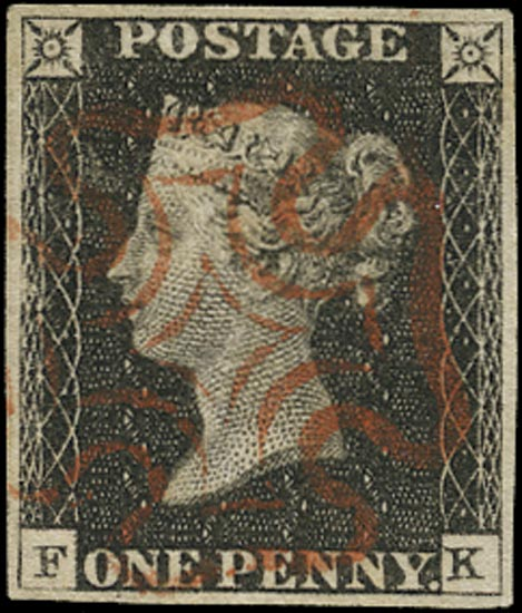 GB 1840  SG2 Pl.3 Penny Black used red MC (FK)