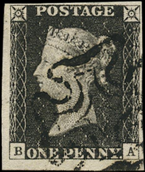 GB 1840  SG2 Pl.6 Penny Black used black MC (BA)
