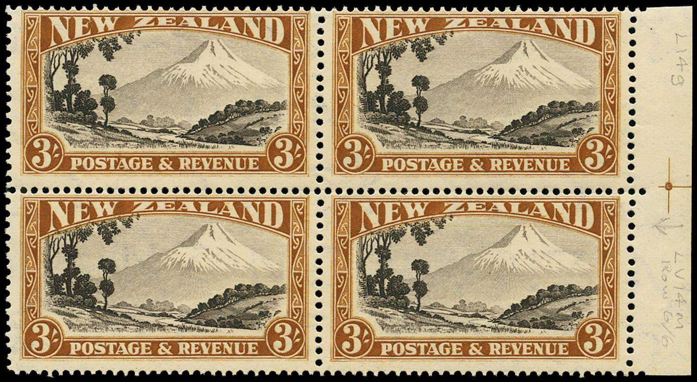 NEW ZEALAND 1936  SG590c var Mint 3s Mount Egmont perf 14x13½ R6/6 flaw