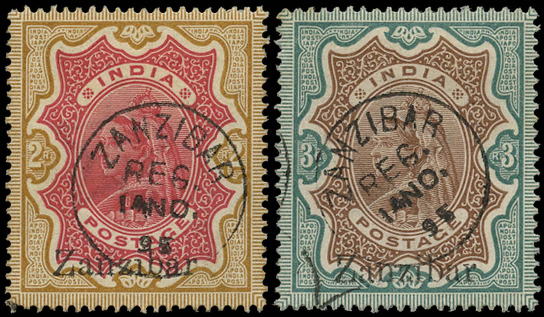 ZANZIBAR 1895  SG19z, 20z Cancel