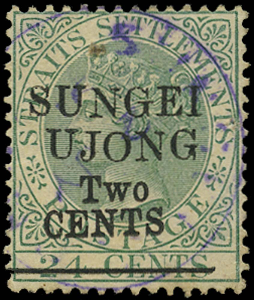 MALAYA - S. UJONG 1891  SG47 Used 2c on 24c green type 32 surcharge