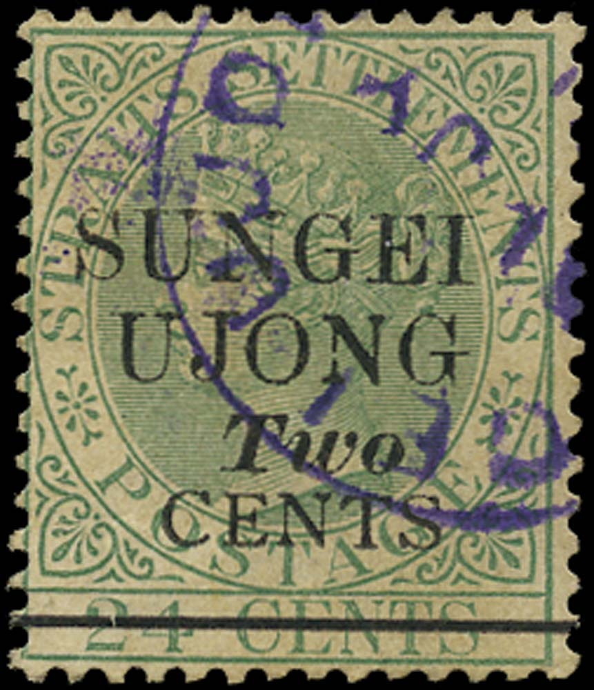 MALAYA - S. UJONG 1891  SG49 Used 2c on 24c green type 34 surcharge