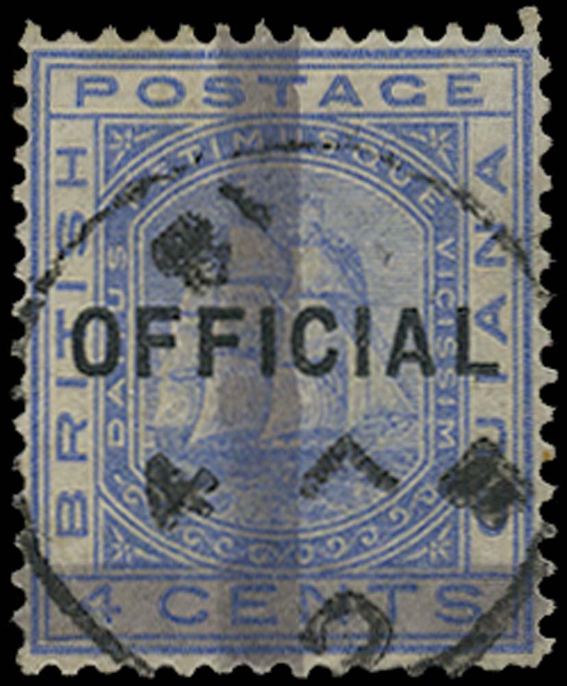 BRITISH GUIANA 1878  SG147 Used (1c) on 4c blue horizontal and vertical bars