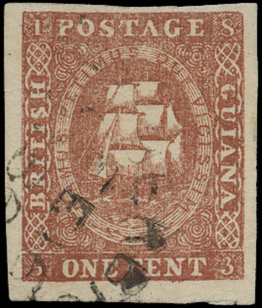 BRITISH GUIANA 1853  SG13 Used litho printing 1c brownish red type A
