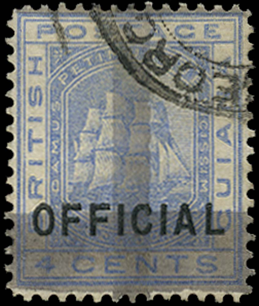 BRITISH GUIANA 1878  SG144 Used (1c) on 4c blue OFFICIAL