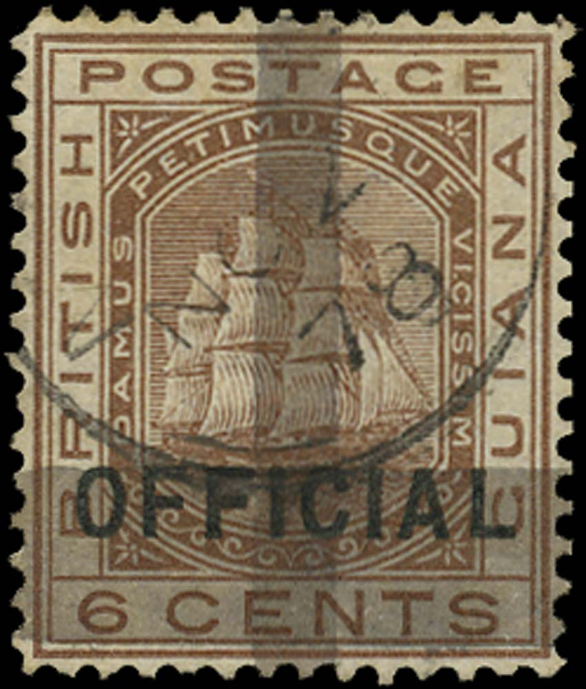 BRITISH GUIANA 1878  SG145 Used (1c) on 6c brown OFFICIAL