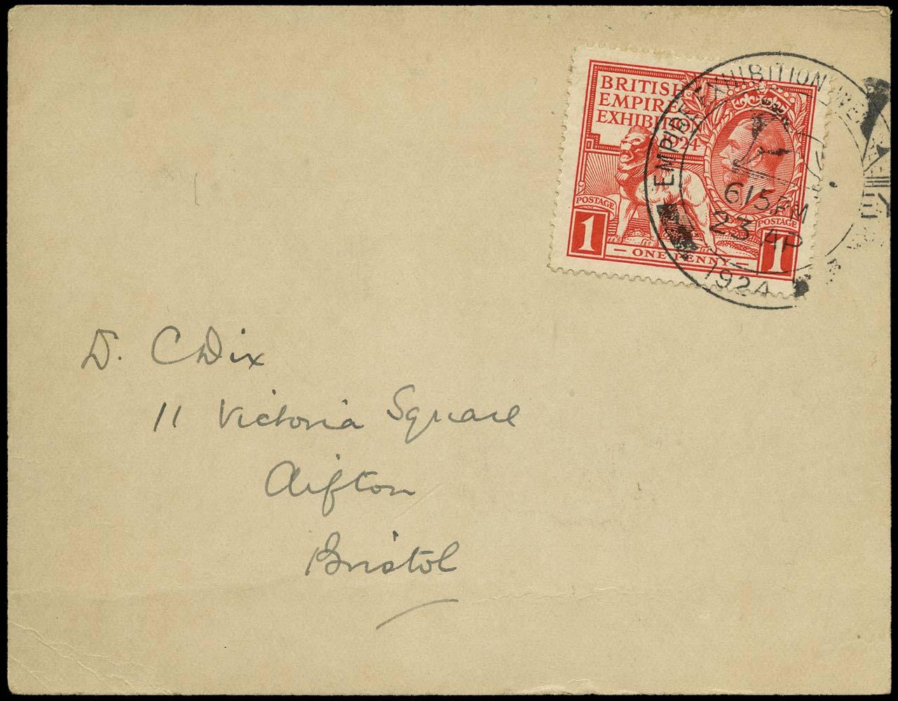 GB 1924  SG430 Cover 1d British Empire Exhibition FDC