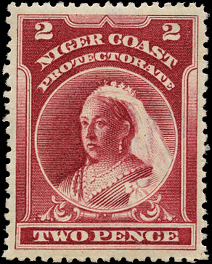 NIGER COAST 1897  SG68x Mint 2d lake perf 13½-14 watermark reversed