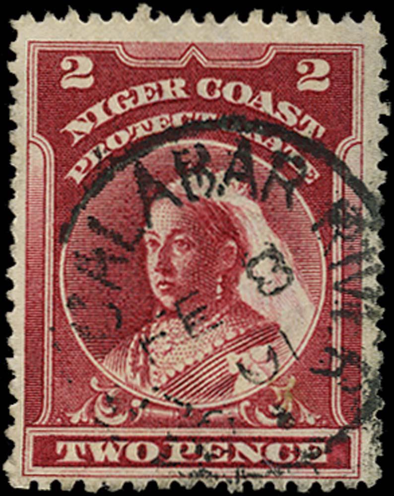 NIGER COAST 1897  SG68x Used 2d lake perf 13½-14 watermark reversed