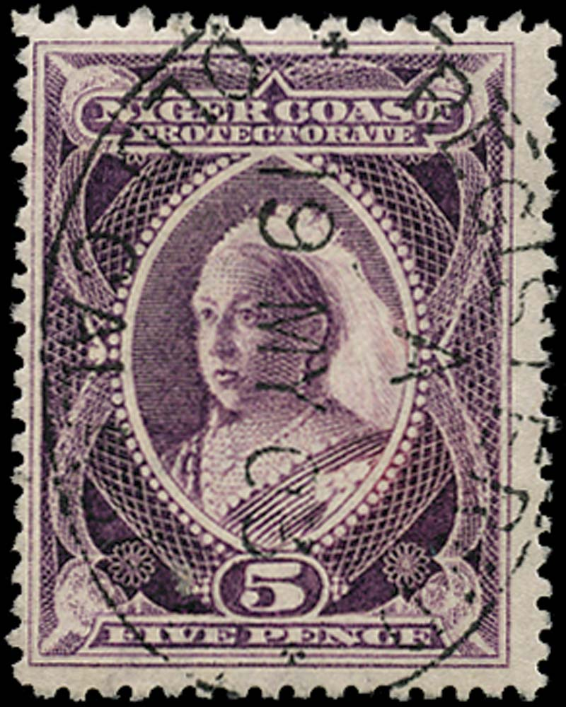NIGER COAST 1897  SG70b Used 5d red-violet compound perf 12-13 x 13½-14