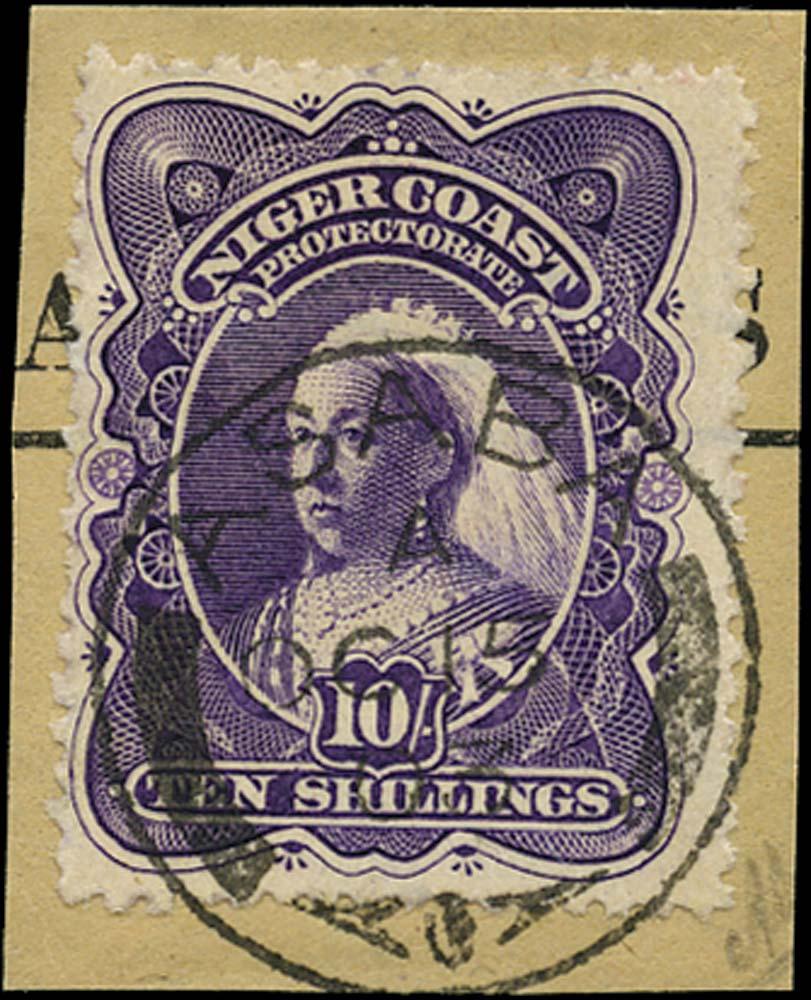 NIGER COAST 1897  SG74b Cancel 10s bright violet perf 13½-14 used in Asaba