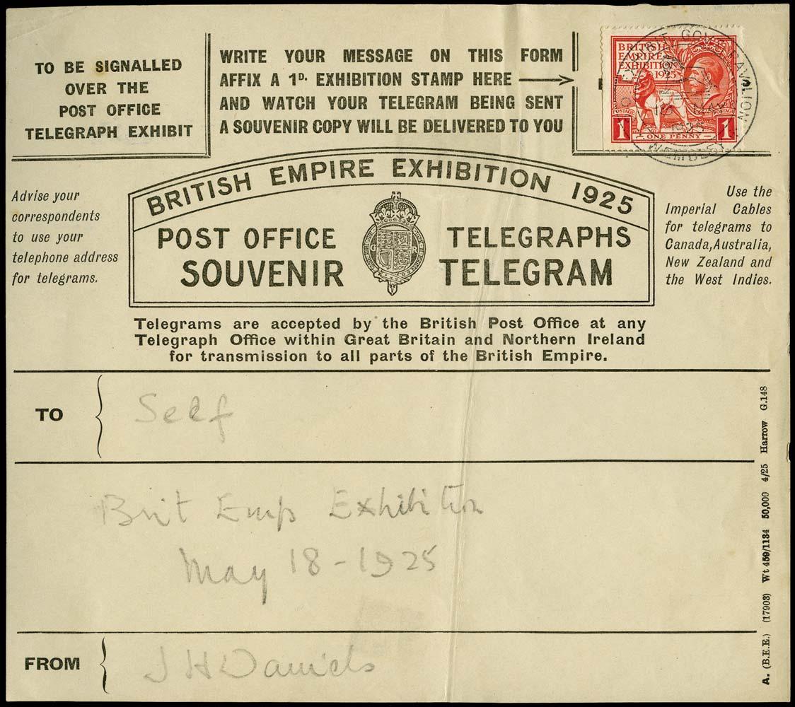 GB 1925  SG432 Used British Empire Exhibition telegraph form