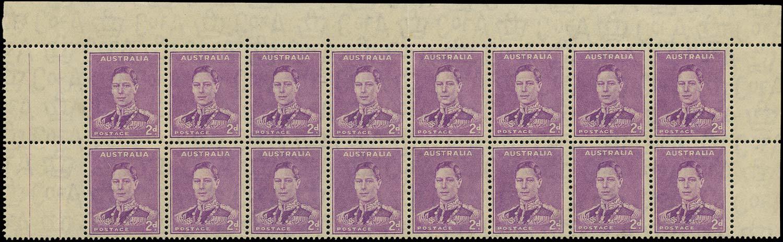 AUSTRALIA 1937  SG185b Mint 2d bright purple Medal flaw