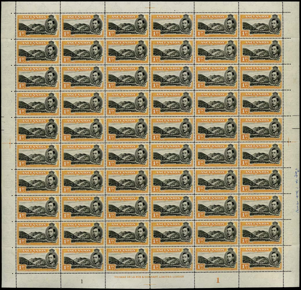 ASCENSION 1938  SG39ca Mint 1d black and orange perf 14 Mountaineer flaw