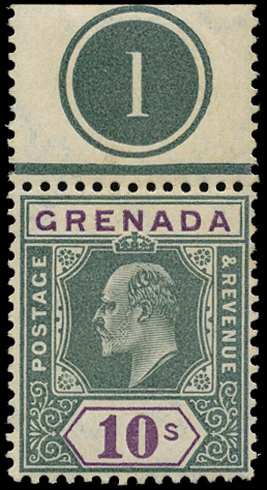 GRENADA 1904  SG76 Mint 10s green and purple watermark MCA unmounted