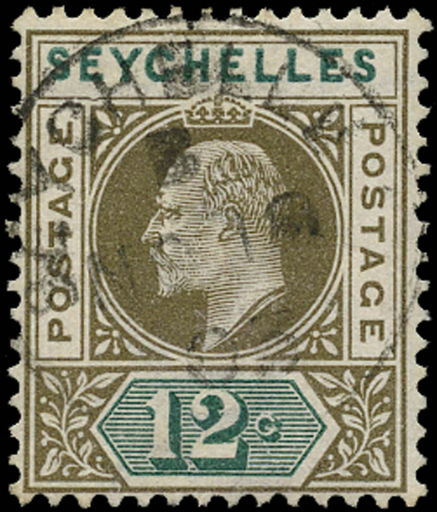 SEYCHELLES 1903  SG49a Used 12c watermark CA variety Dented frame