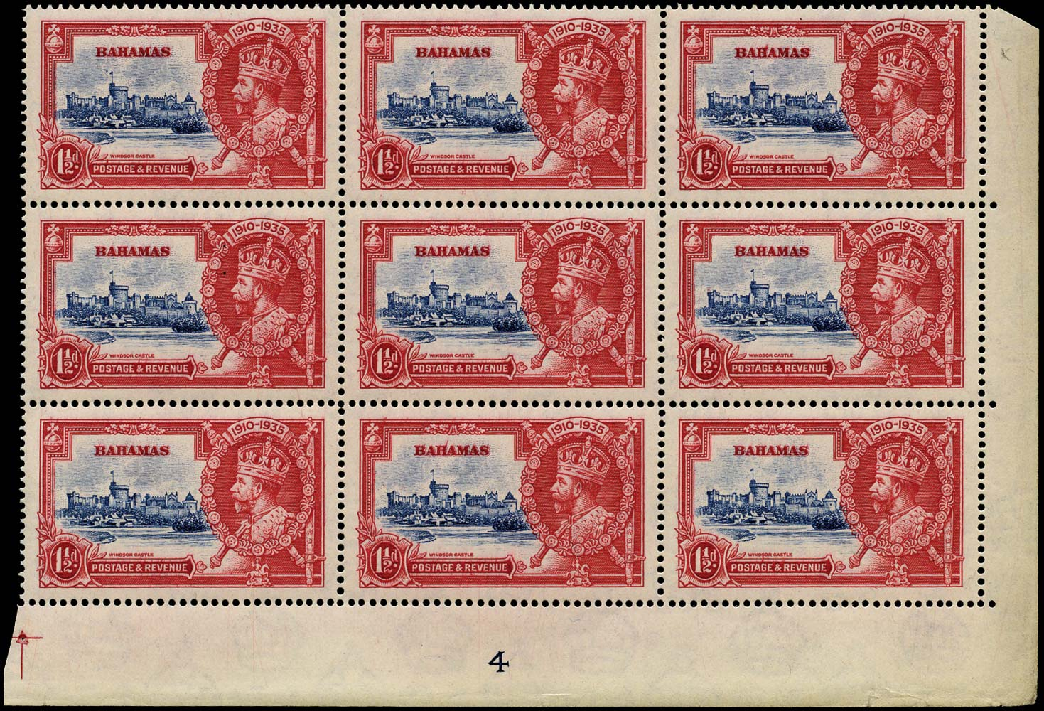BAHAMAS 1935  SG141h Mint Silver Jubilee 1½d Dot by flagstaff unmounted