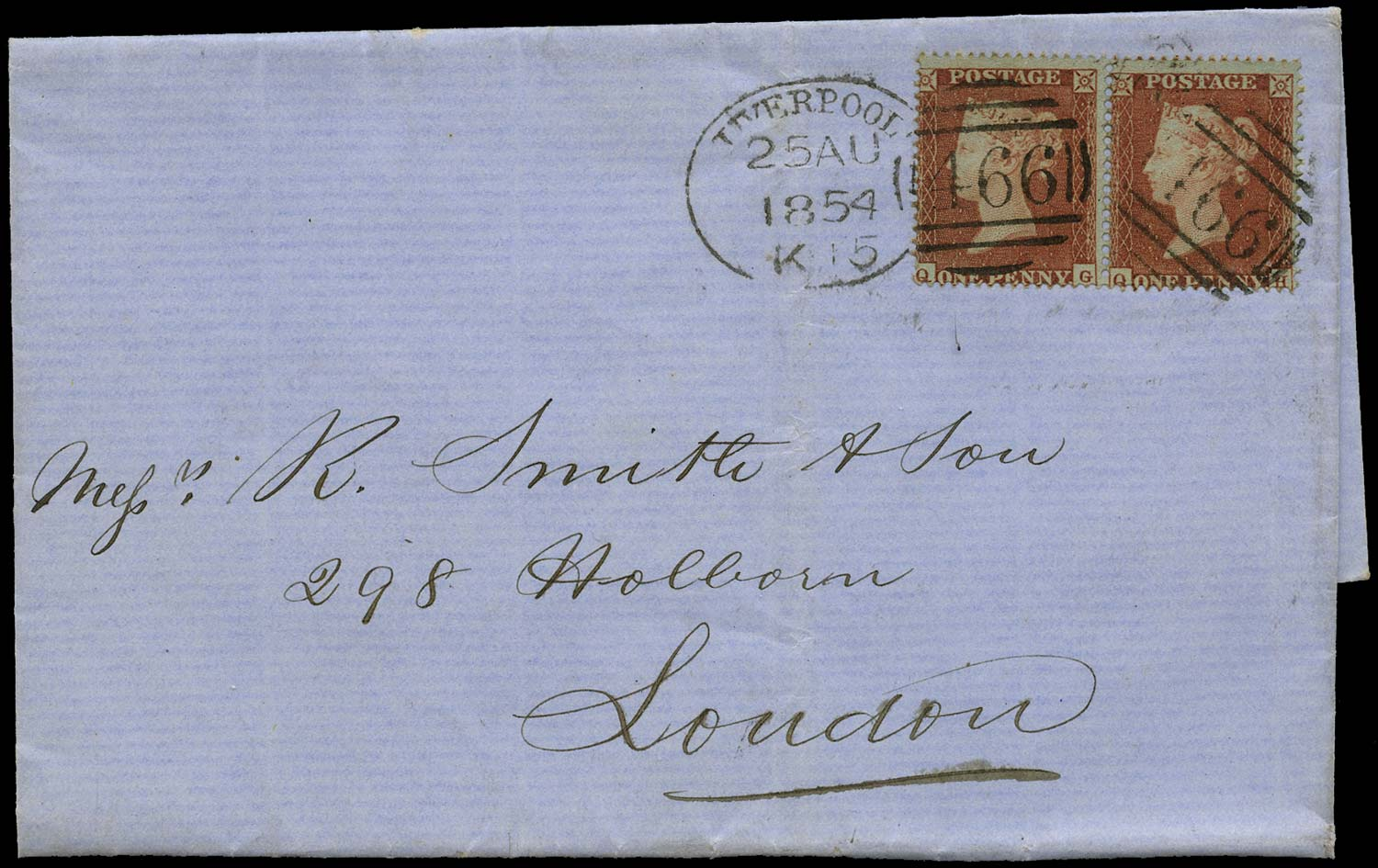 GB 1855  SG17 Pl.173 Cover Liverpool