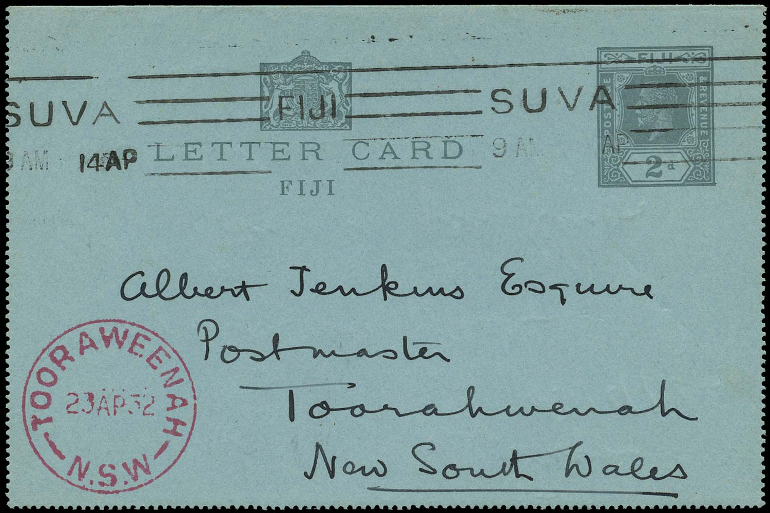 FIJI 1932 Cover KGV 2d grey on blue lettercard to Tooraweenah