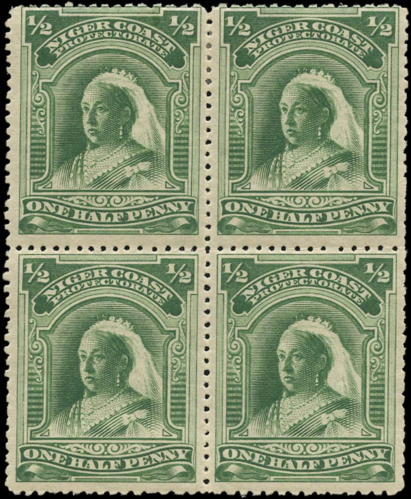 NIGER COAST 1894  SG51d Mint ½d deep green no watermark compound perf