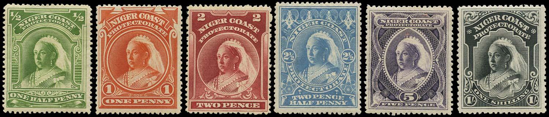 NIGER COAST 1894  SG51/56a Mint no watermark set of 6