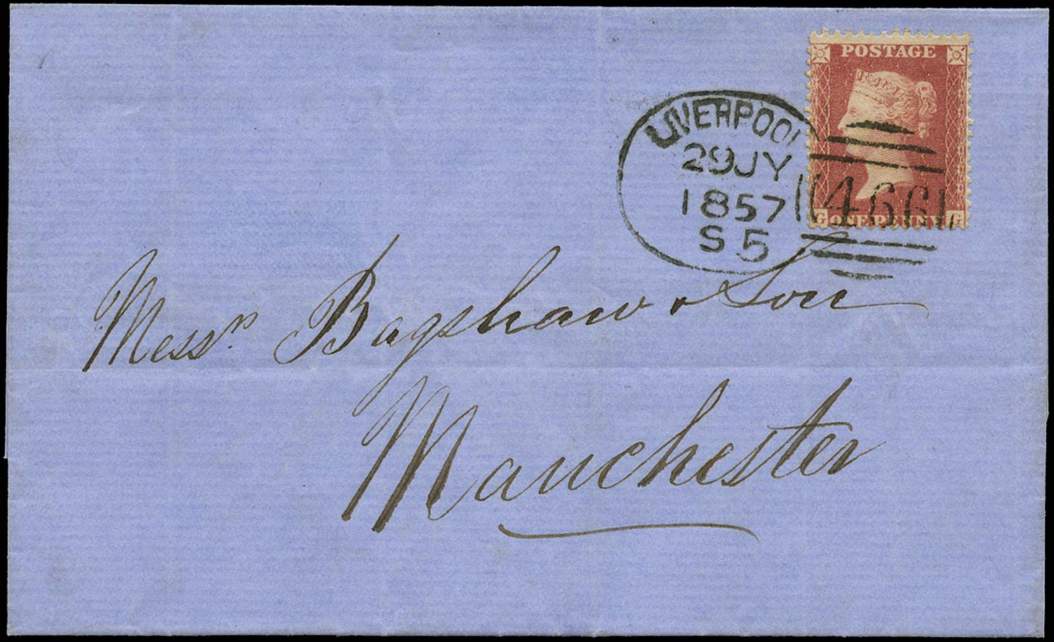 GB 1857  SG38 Pl.35 Cover Liverpool