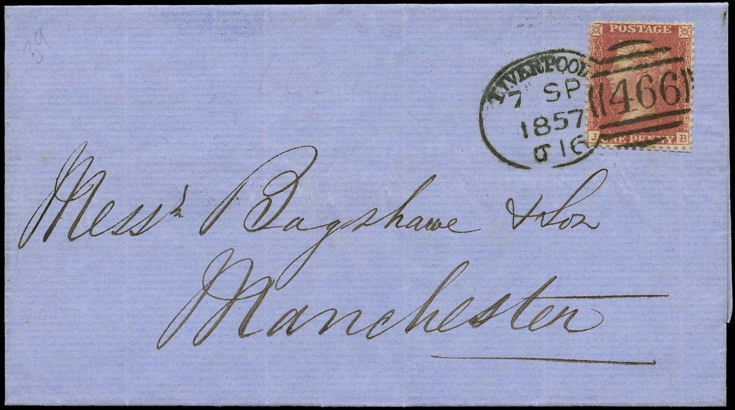 GB 1857  SG39 Pl.45 Cover Liverpool