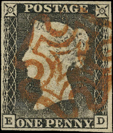 GB 1840  SG3 Pl.1a Penny Black VFU red MC (TC)