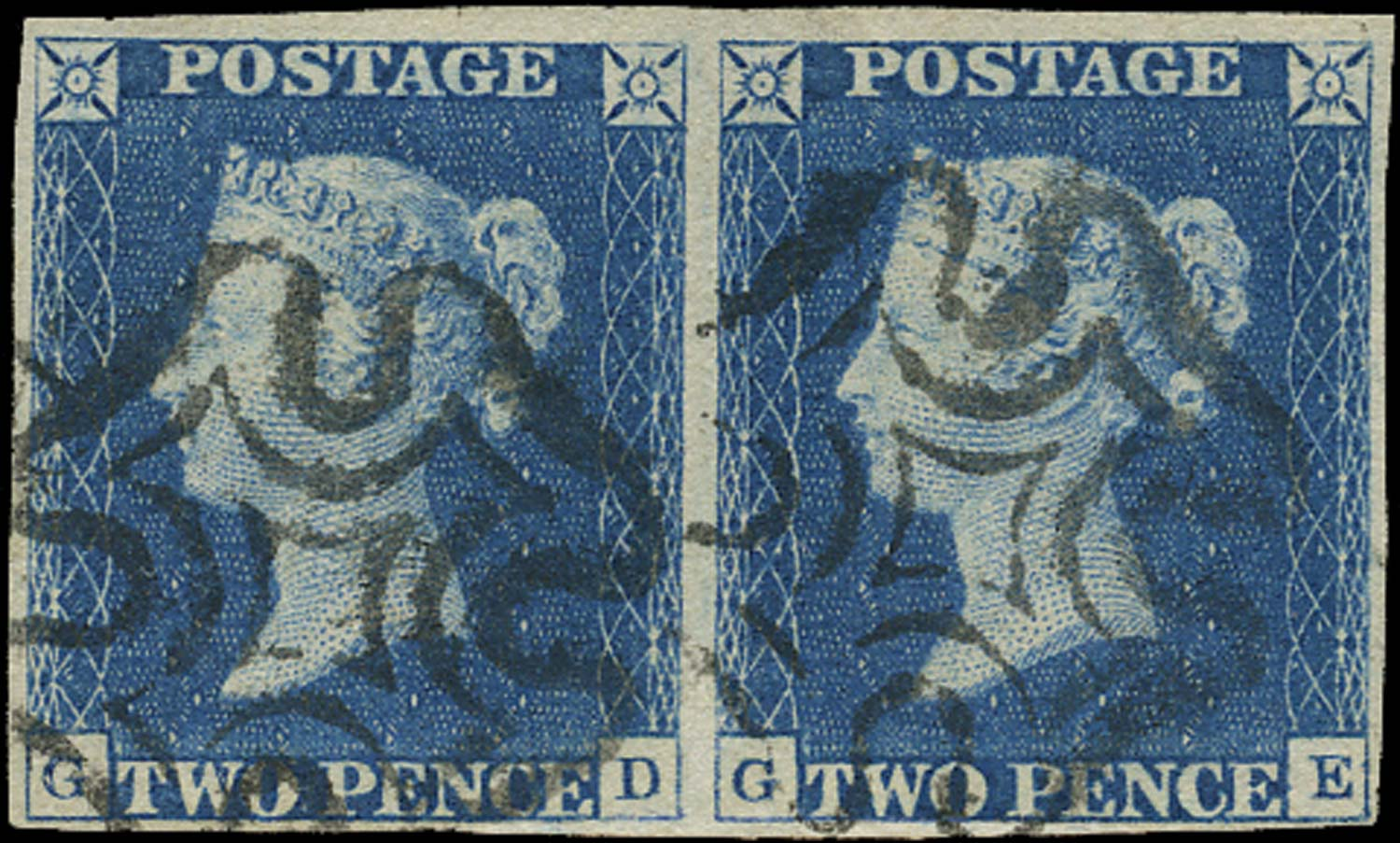 GB 1840  SG5 Pl.1 Used horizontal pair lettered GD-GE