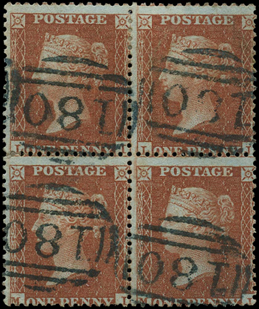GB 1855  SG24 Pl.1 Used block of four, Chester