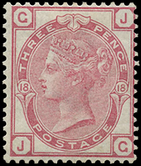 GB 1875  SG143 Pl.18 Mint o.g. example lettered JG