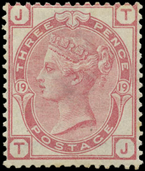 GB 1876  SG143 Pl.19 Mint o.g. example lettered TJ