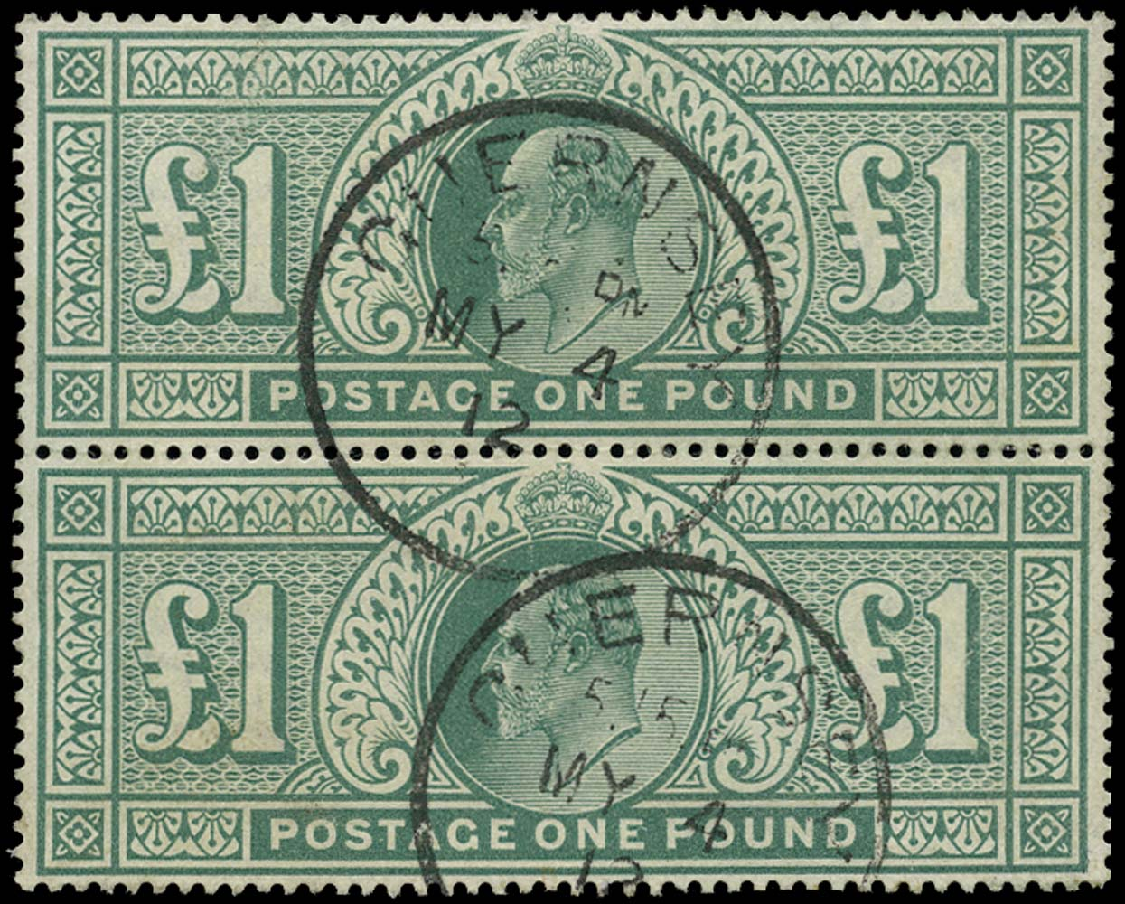GB 1902  SG266 Used vertical pair