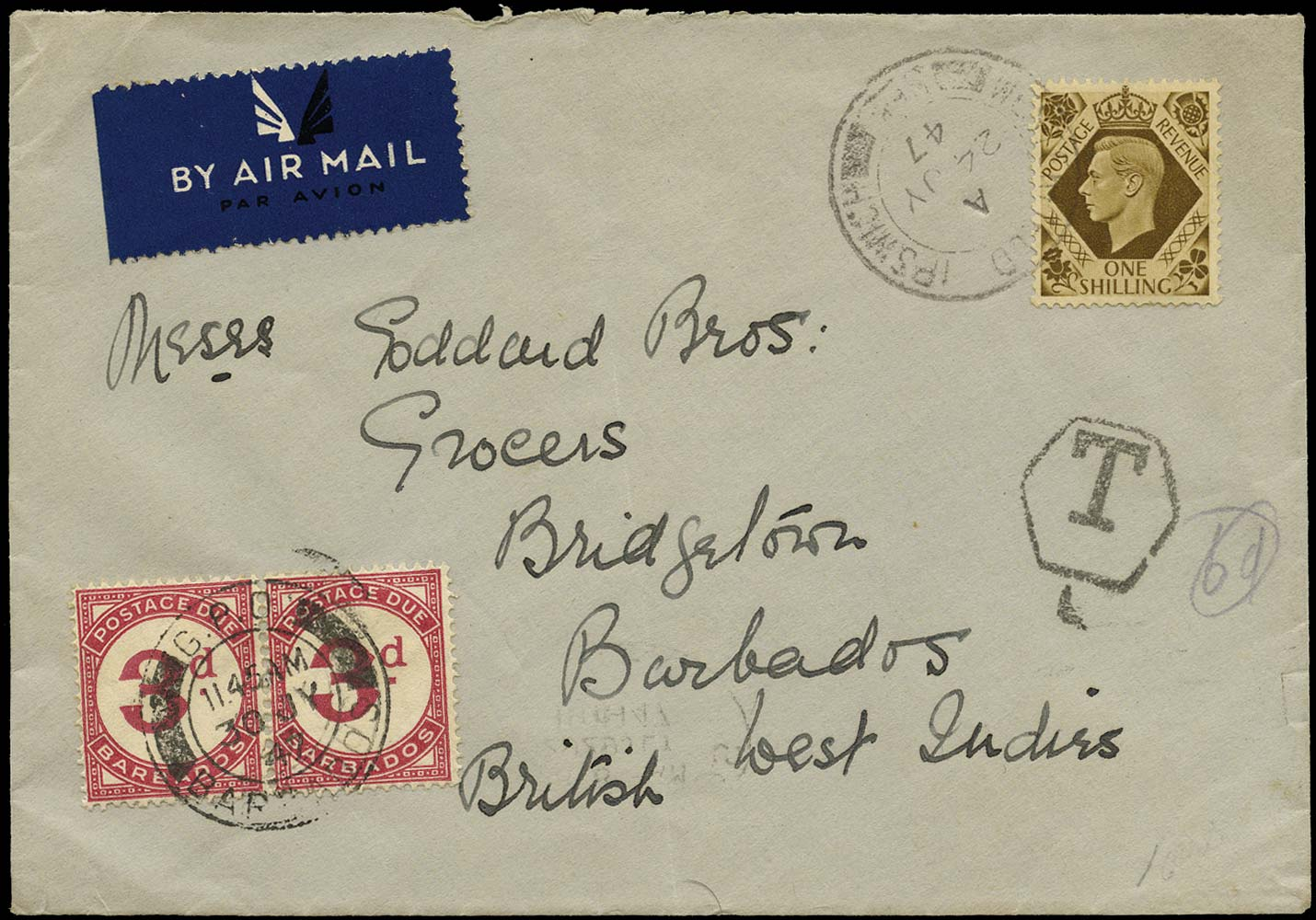 BARBADOS 1947  SGD3 Cover incoming underpaid cover with 3d carmine